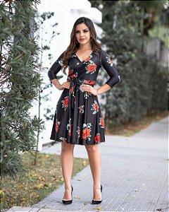 Vestido Midi Renata com Amarração Moda Evangélica