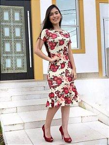Vestido Peplum Ravene Moda Evangélica