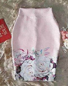 Saia Lápis Rosa Floral Moda Evangélica