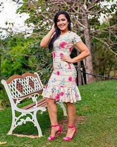 Vestido Tubinho Mara Peplum Floral Moda Evangélica
