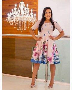 Vestido Midi Godê Sandra Rosé Floral