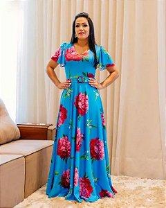 Vestido Longo Isabela Manga Flare Moda Evangélica
