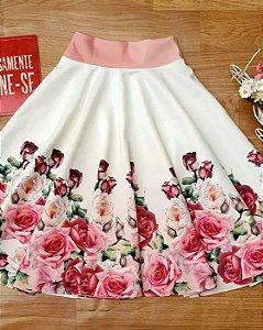 Saia Midi Godê Branca Rosas