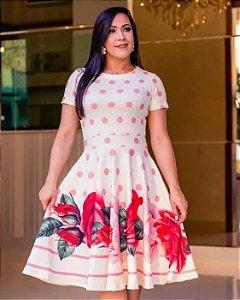 Vestido Midi Amanda Poá e Floral Moda Evangélica