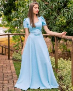 61dc3ba47c Vestido Longo - Moda Evangélica - Flor de Amêndoa