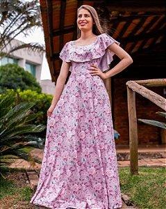 Vestido Longo Ciganinha Flores Moda Evangélica