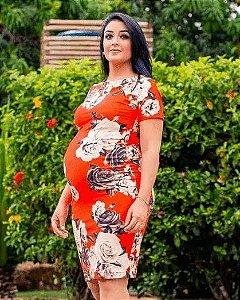 Vestido Tubinho Floral Moda Gestante Evangélica