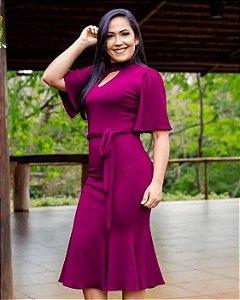 Vestido Peplum Gola Alta Vinho Moda Evangélica