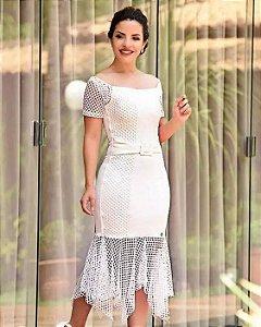 Vestido Tubinho Branco Arrastão Moda Evangélica