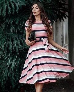 Vestido Midi Listrado Tons de Rosa Moda Evangélica