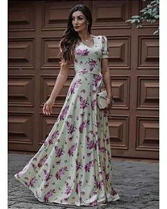 Vestido Longo Rosas com Amarração Moda Evangélica