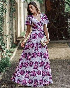 Vestido Longo Transpassado Lilás Moda Evangélica