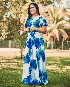 Vestido Longo Floral Azul Moda Evangélica