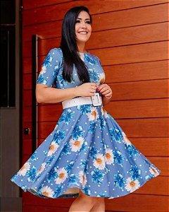 Vestido Midi Azul Margaridas Moda Evangélica