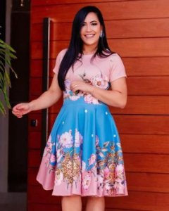 Vestido Midi Godê Pink Blue Moda Evangélica