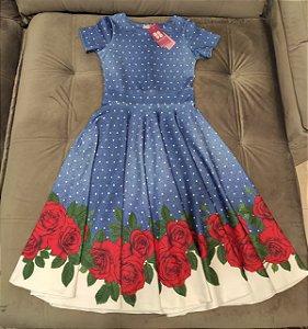 Vestido Midi Godê Malha Azul Jeans Floral com Bolinhas