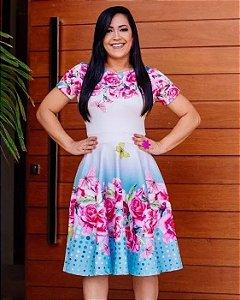 Vestido Godê Floral saia Azul Moda Evangélica