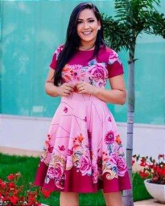 Vestido Midi Vinho Florido Moda Evangélica