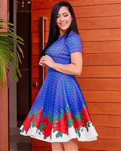 Vestido Midi Rosas Azul Poá Moda Evangélica
