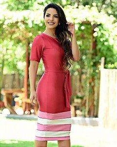 Vestido Tubinho Vermelho com Amarração e Barrado