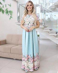 Vestido Longo Azul Florido Moda Evangélica