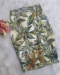 Saia Lápis Midi Floral Moda Evangélica