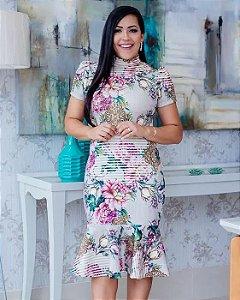 Vestido Peplum Gola Alta floral Moda Evangélica