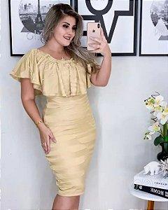 Vestido Tubinho Tricot Dourado Moda Evangélica