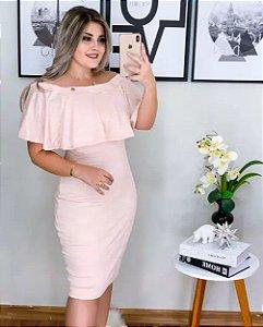 Vestido Tubinho de Tricot Rosa Moda Evangélica