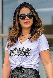 Blusa Tshirt Love Branco Moda Evangélica