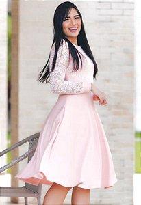 Vestido Godê Rosa Bolsinho e manga Rendada