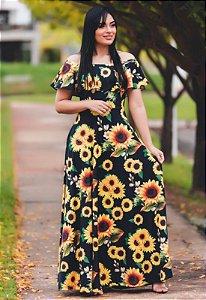 Vestido Longo Ciganinha Girassol