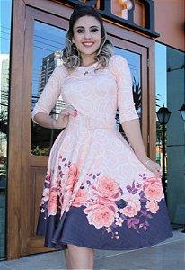 Vestido Midi Godê Barrado com Floral
