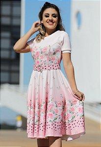 Vestido Midi Florido com Cinto Forrado