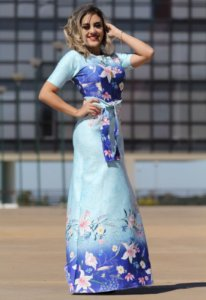 Vestido Longo Azul Faixa Amarração