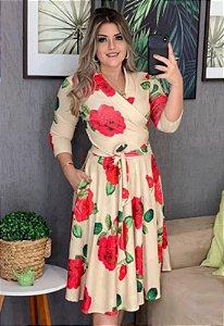 Vestido Midi Transpassado Estampado Rosas