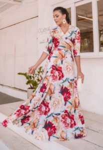 Vestido Longo Floral com Transpassado