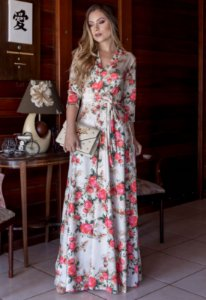 Vestido Longo Florido Decote Transpassado