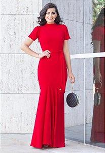 Vestido Longo Barrado Sereia Vermelho