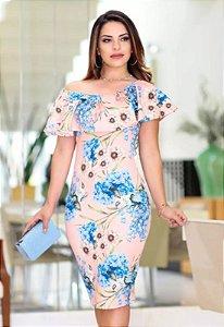 Vestido Tubinho Ciganinha Floral