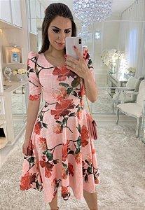 Vestido Midi Rosas Manga Princesinha