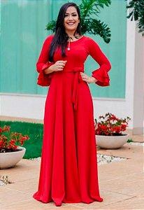 Vestido Longo Suplex Vermelho Manga Boca Sino