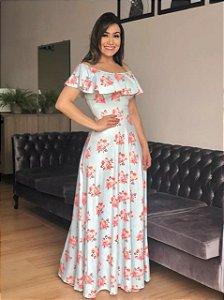 Vestido Longo Ciganinha Suplex Flores