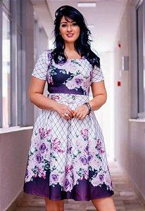 Vestido Godê Neoprene Xadrez com Floral