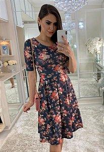 Vestido Midi Floral com Pregas Crepe Malha