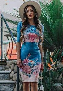 Vestido Tubinho Azul Floral Neoprene