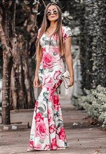 Vestido Longo Sereia Suplex Floral
