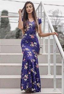 Vestido Longo Sereia Suplex Estampado Roxo
