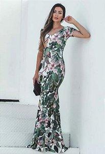 Vestido Longo Sereia Suplex Estampado Verde