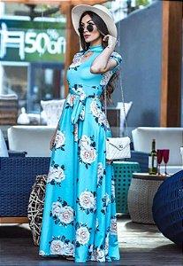 Vestido Longo Suplex Azul Floral com Gola